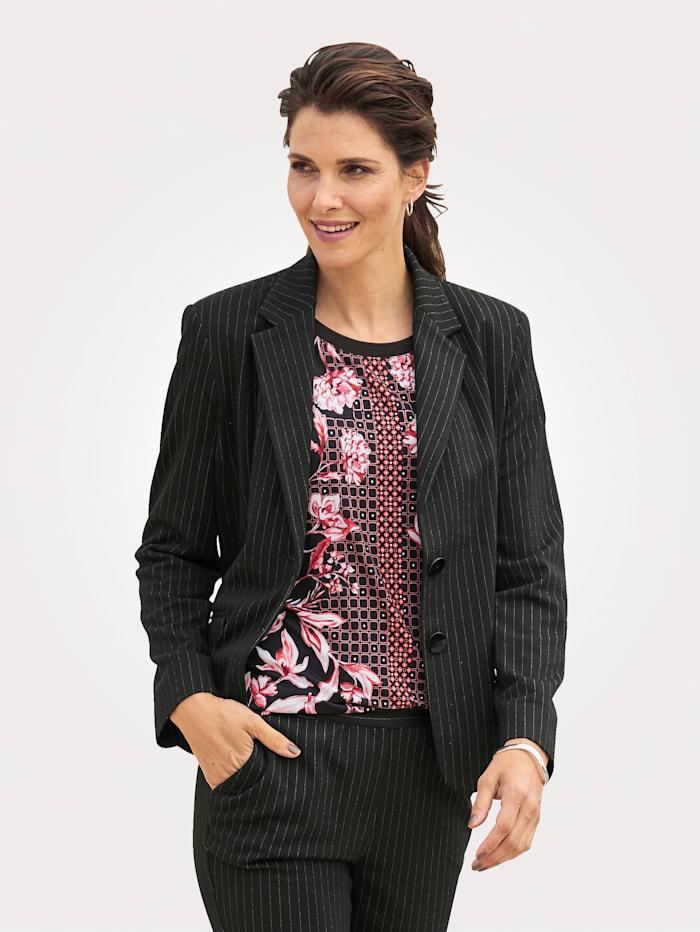 MONA Jersey blazer met fijne krijtstrepen, Zwart/Wit