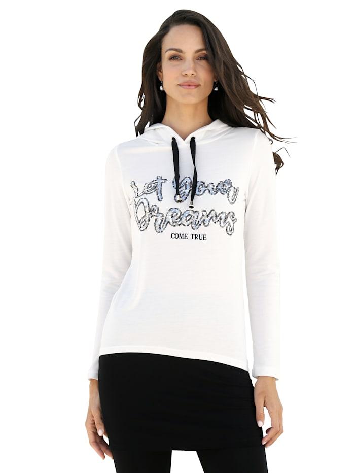 AMY VERMONT Shirt met pailletten, Offwhite/Zwart