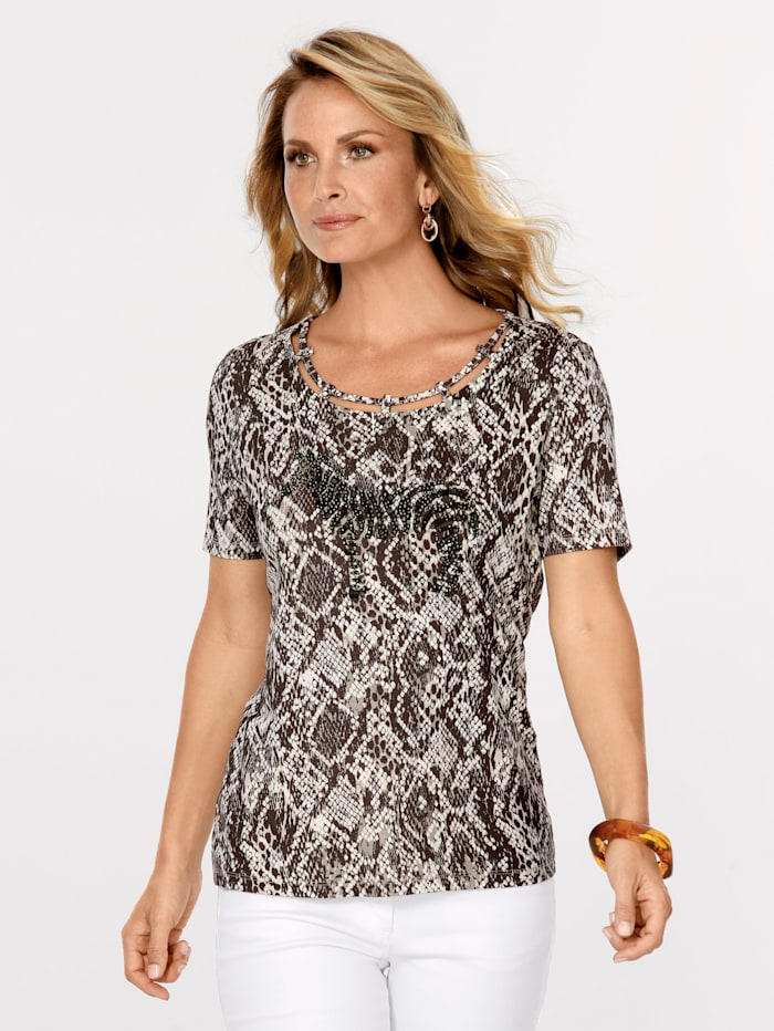 MONA T-shirt à motif reptile, Marron/Écru