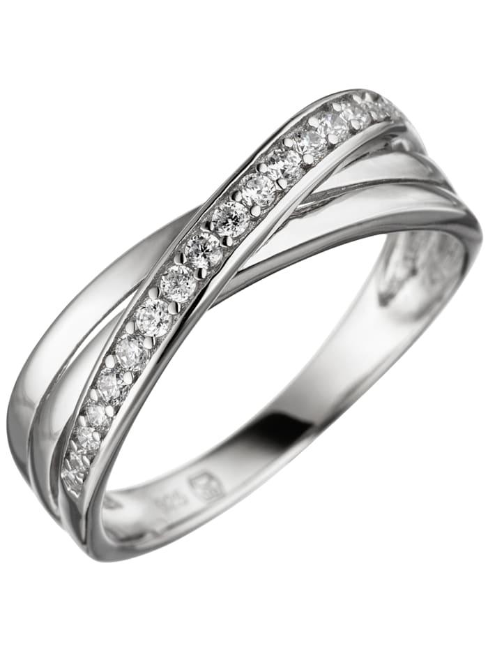 1001 Diamonds Damen Ring 925 Sterling Silber mit Zirkonia Silberring, silber