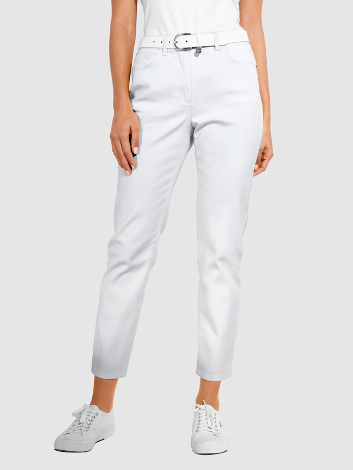 MONA Nohavice s elastickými vsadkami v pásovke od veľ. 44, Biela