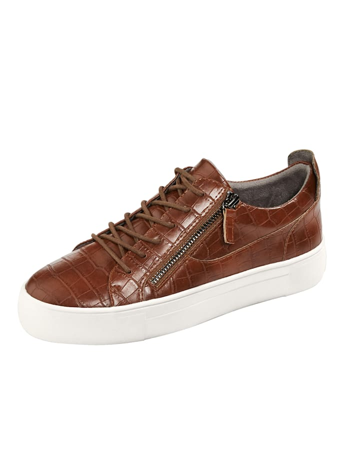 Liva Loop Plateausneaker in edler Kroko-Optik, Cognac
