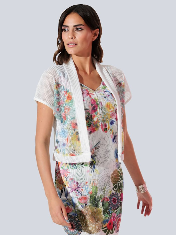 Alba Moda Shirtjacke partiell bedruckt im floralem Dessin, Weiß/Rot/Grün/Blau