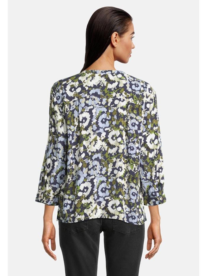 Casual-Bluse mit Print Aufgesteppte Bänder