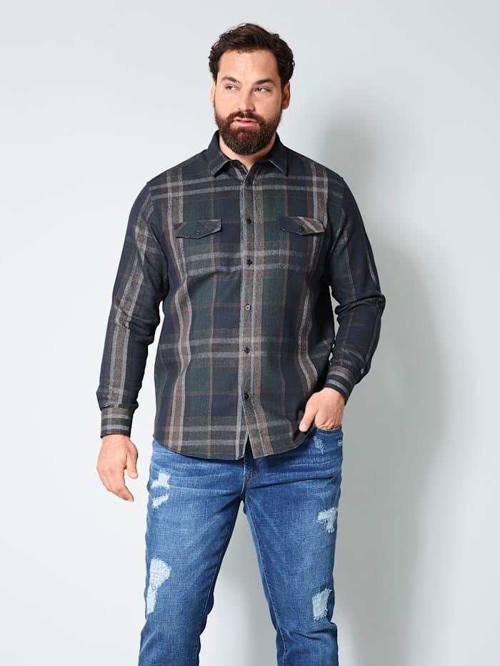 Men Plus Hemd aus reiner Baumwolle, Marineblau/Cognac