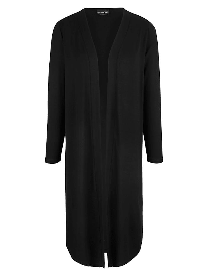 MIAMODA Tričkový kabátek v otevřeném střihu, Černá