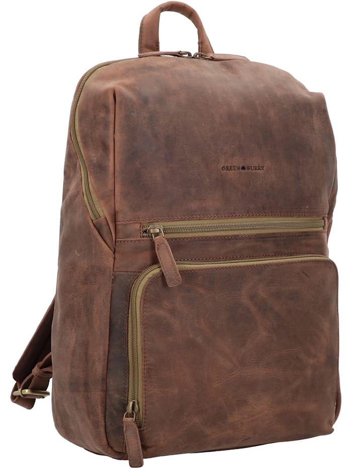 Vintage Tec Rucksack Leder 39 cm Laptopfach