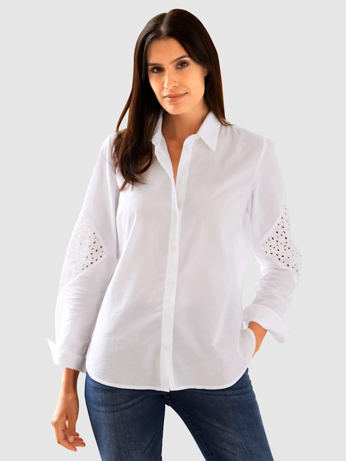 Laura Kent Bluse mit elegantem Spitzeneinsatz, Weiß