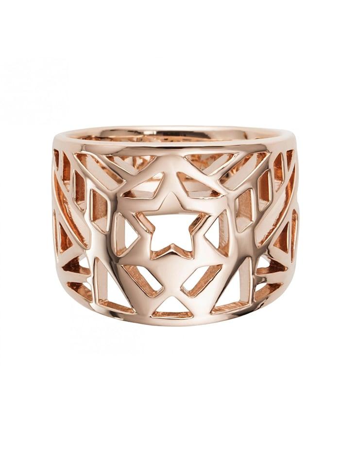 CAI Ring 925/- Sterling Silber ohne Stein Glänzend, rot