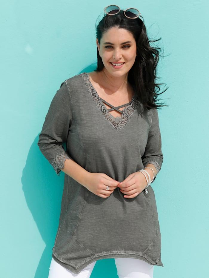 MIAMODA Longshirt mit dekorativer Spitze am Ausschnitt, Grau