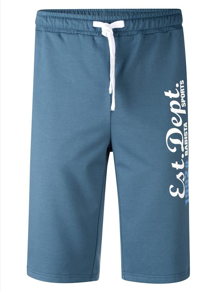 BABISTA Bermuda en molleton à inscription tendance, Bleu jean