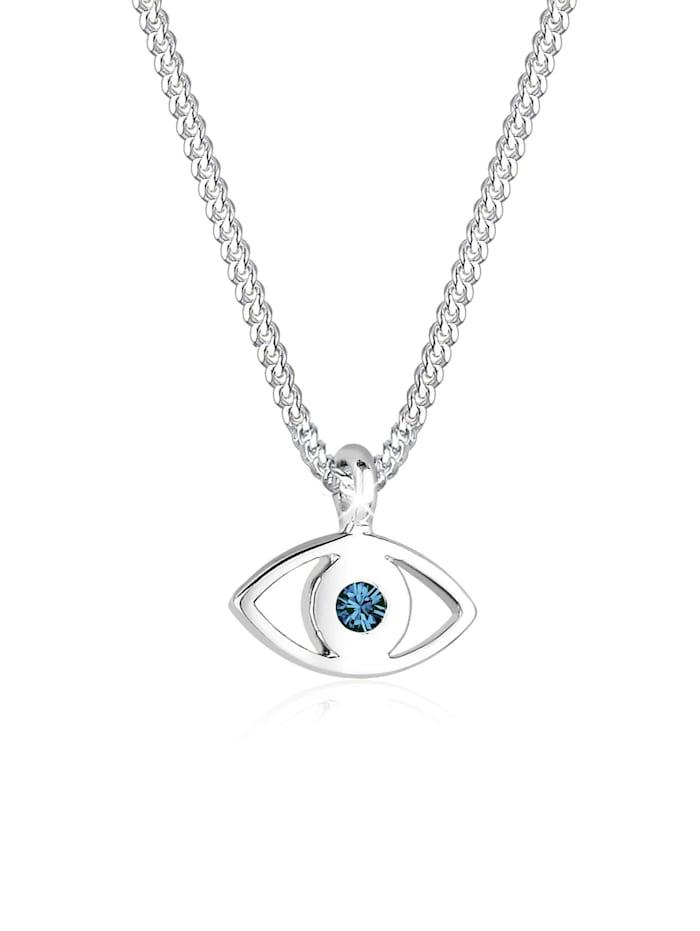 Elli Halskette Evil Eye Kristalle 925 Sterling Silber, Blau