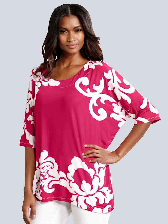 Alba Moda Shirt im kontrastfarbenen Druck, Weiß/Pink