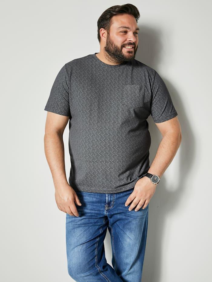 Men Plus T-Shirt mit einer aufgesetzten Brusttasche, Schwarz/Grau