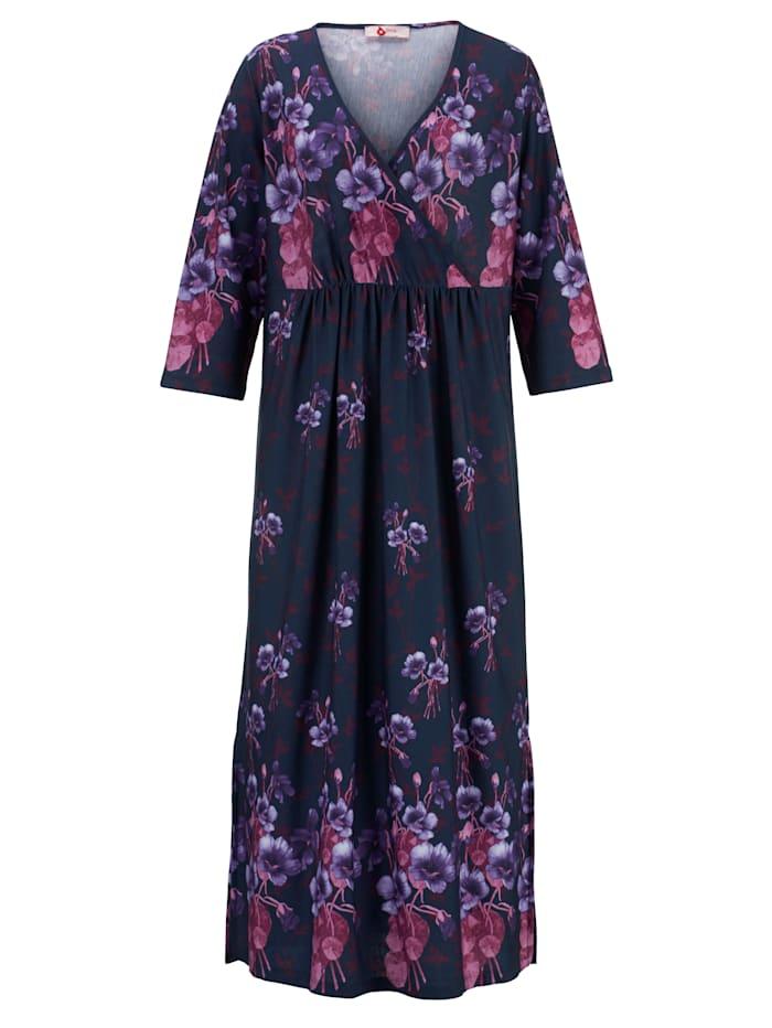 Harmony Kaftan mit hübschem Floral-Dessin, Marineblau/Fuchsia/Flieder