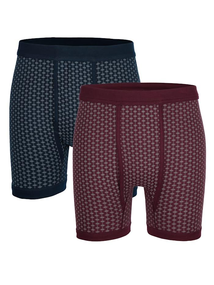 Boxershorts, Marine/Aubergine
