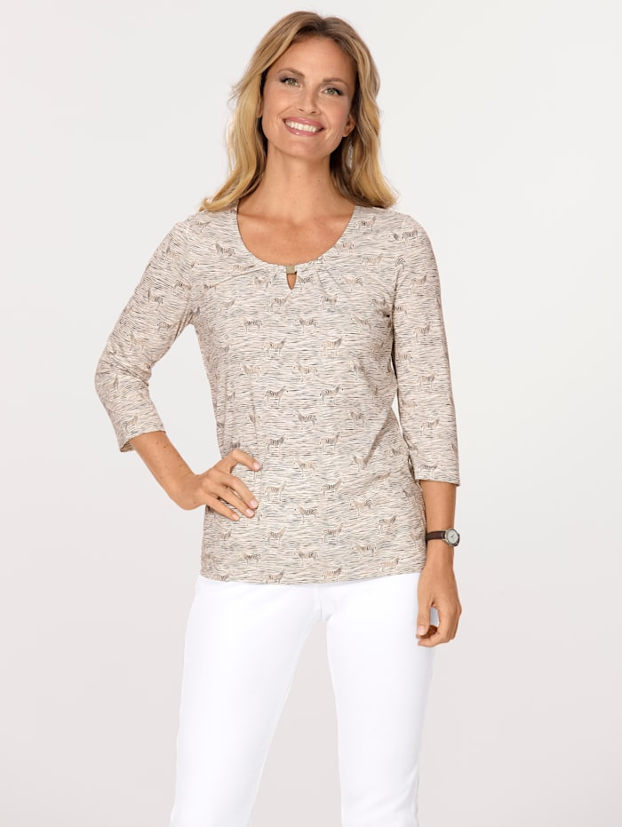 MONA Top with an elegant print, Beige/Ivory