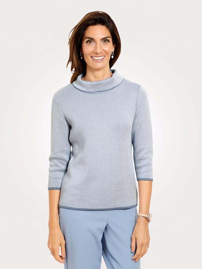 MONA Pullover mit zweifarbigem Strukturstrick, Hellblau/Weiß