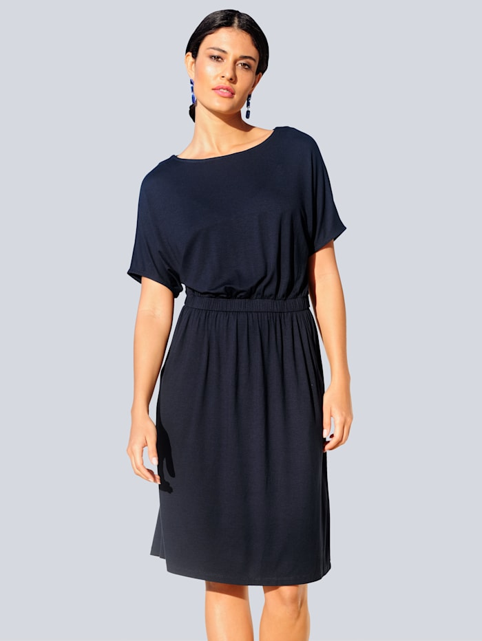Alba Moda Džersej šaty z elastickej kvality, Námornícka