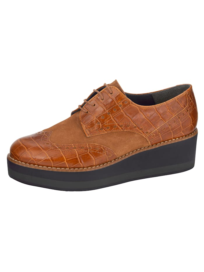 Šnurovacia obuv v kroko vzhľade, Koňaková