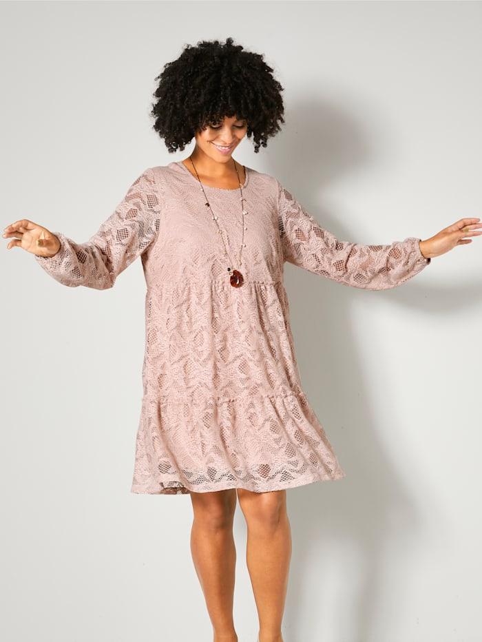 Angel of Style Čipkové šaty s volánmi, Staroružová