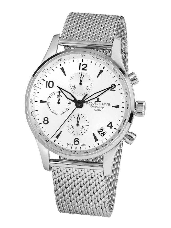 Jacques Lemans Herren-Uhr-Automatik-Chronograph Serie: London Automatic, Kollektion: Classic: 1- 1935E, Silberfarben