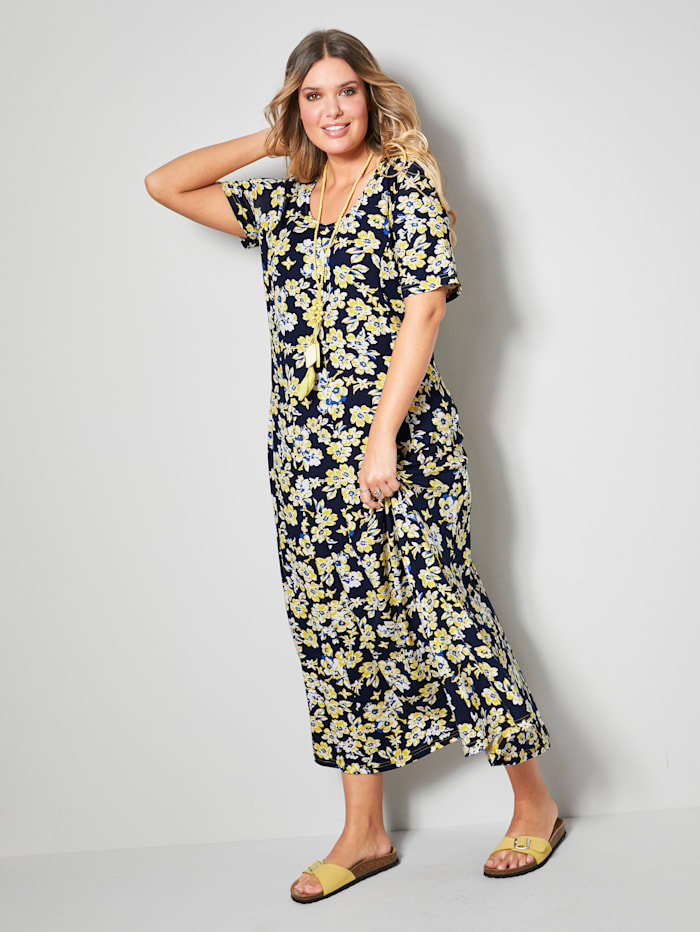Janet & Joyce Maxi-jurk in licht uitlopend model, Marine/Geel