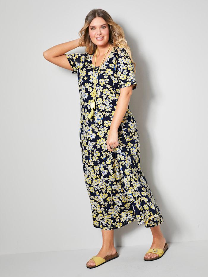 Janet & Joyce Maxi šaty v mírněrozšířeném střihu, Námořnická/Žlutá