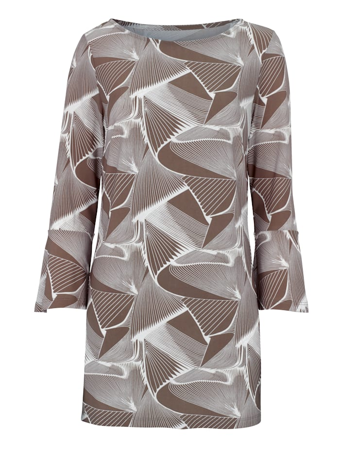 Jersey tunic with a textured print effect