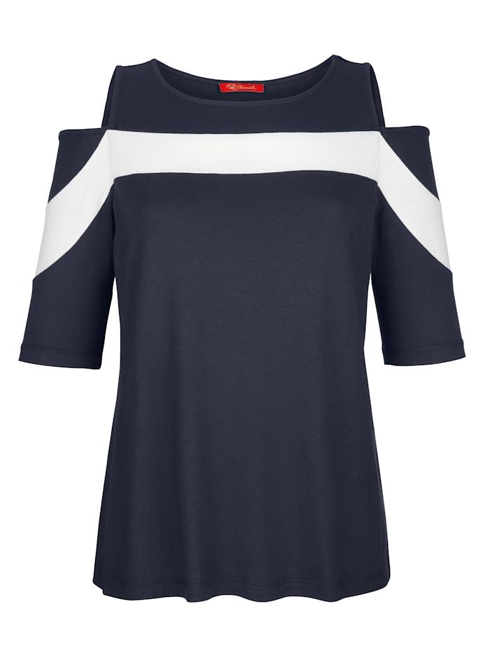 Alba Moda Shirt mit Cut-Outs im Schulterbereich, Marineblau/Weiß