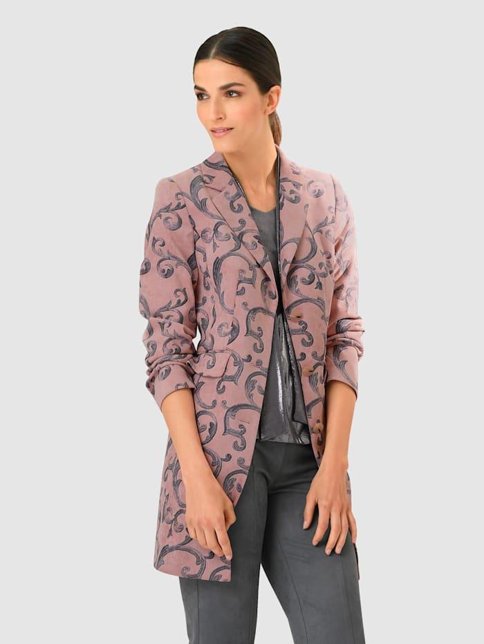 Alba Moda Blazer in floralem Dessin allover, Rosé/Grau