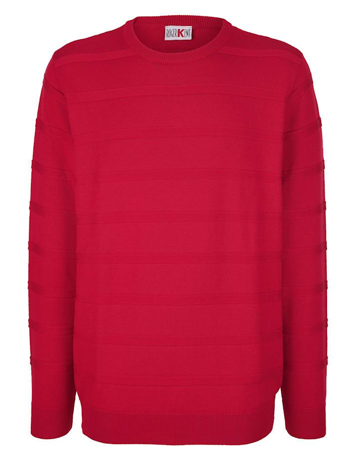 Roger Kent Tröja med stickat mönster, Röd