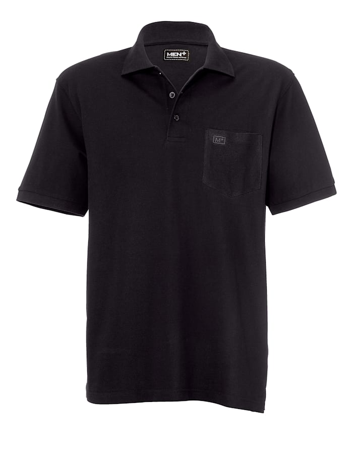Men Plus Poloshirt, Zwart