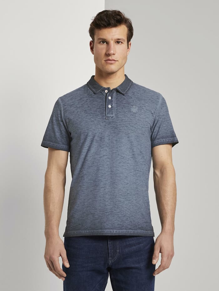 Tom Tailor Meliertes Poloshirt im Washed-Look, Black Iris Blue