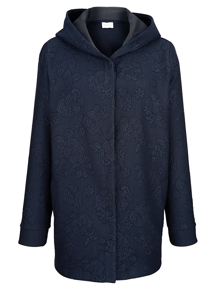 Longline jacket made from a jacquard fabric