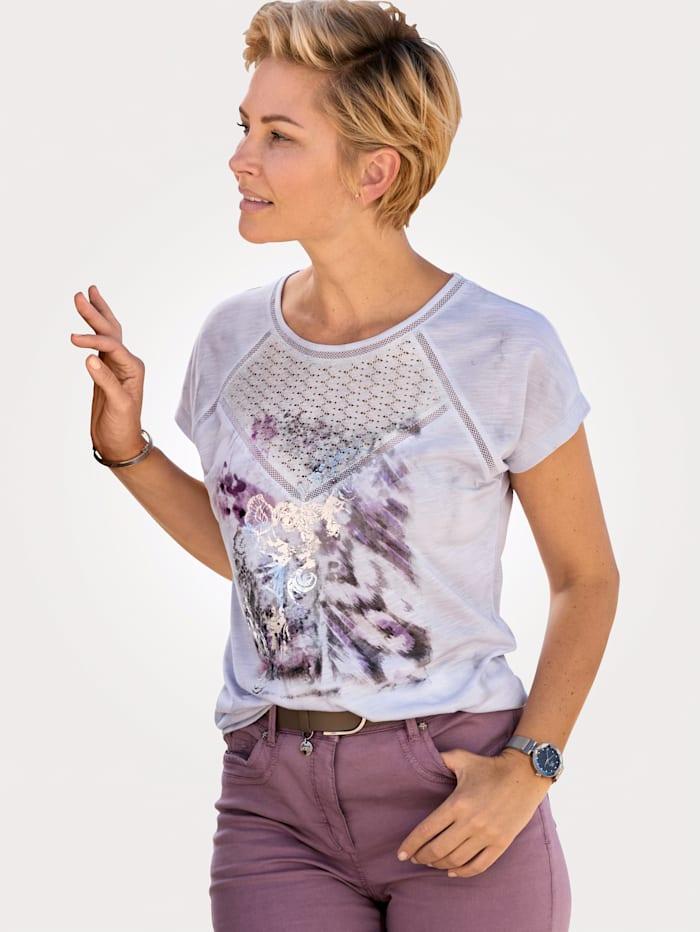 MONA Shirt mit farbharmonischem Druck, Weiß/Grau/Lavendel