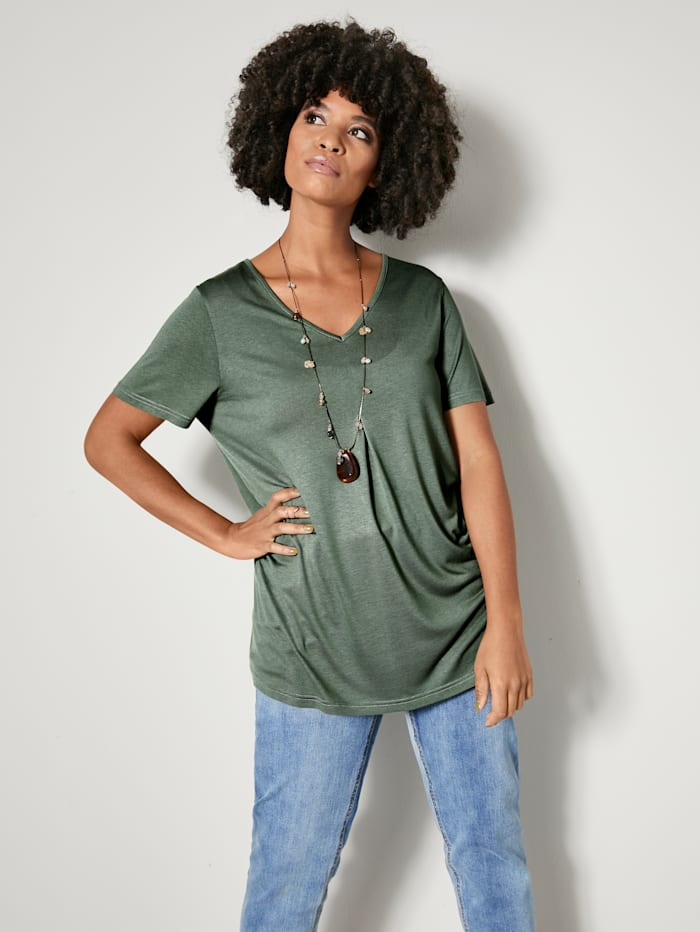 Angel of Style Shirt met bandje achter, Apricot/Olijf