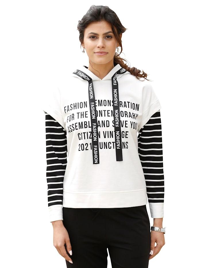 Alba Moda Sweatshirt met modieuze details, Offwhite/Zwart