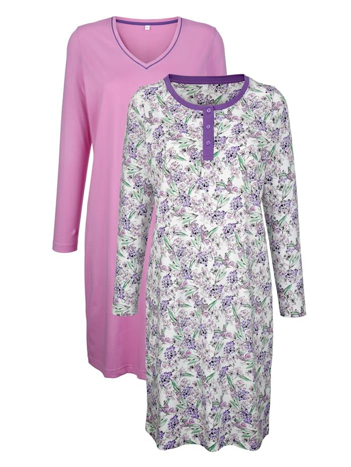 Harmony Nachthemden per 2 stuks in eenvoudig model met bloemenprint, Fuchsia/Paars/Groen