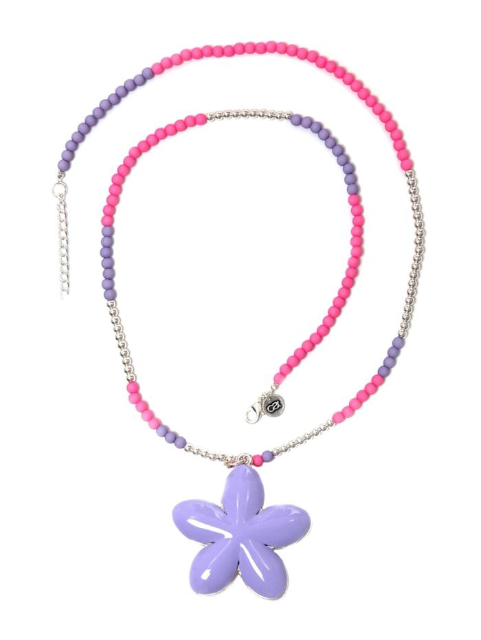 Collezione Alessandro Lange Kette Fleur mit zweifarbigen Blüten Anhänger, rosa, violett
