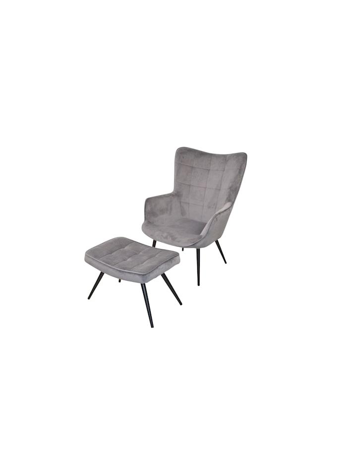 Möbel-Direkt-Online Polstersessel mit Fußhocker Ines, grau