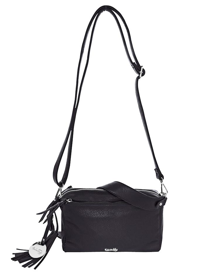 Taschenherz Umhängetasche mit 3 praktisch aufgeteilten Reißverschlussfächern, schwarz