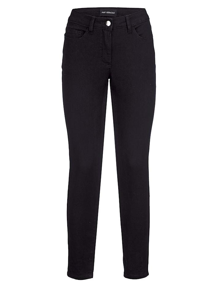 AMY VERMONT Jeans mit Reißverschluss und Schleife hinten am Beinende, Black