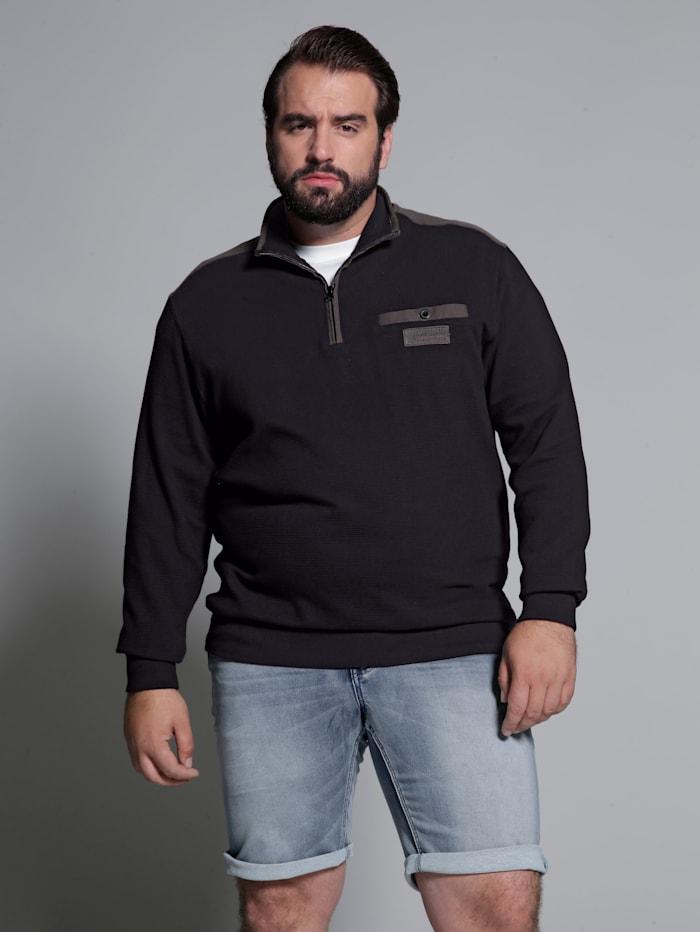 Men Plus Sweatshirt Spezialschnitt, Schwarz