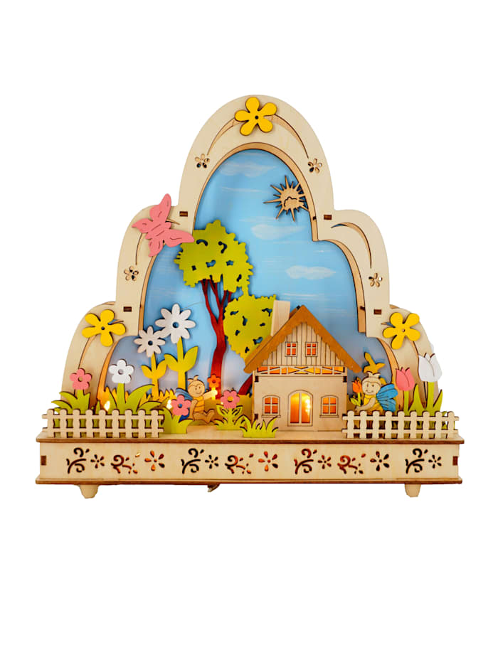 Arche en bois, LED, avec musique, Multicolore