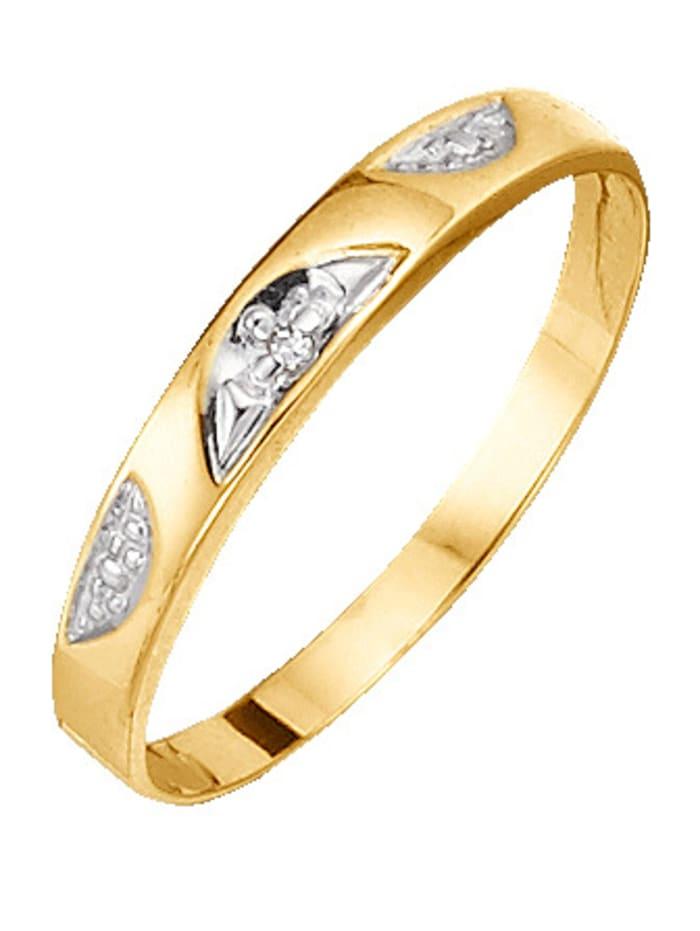 Damesring met diamant, Geel