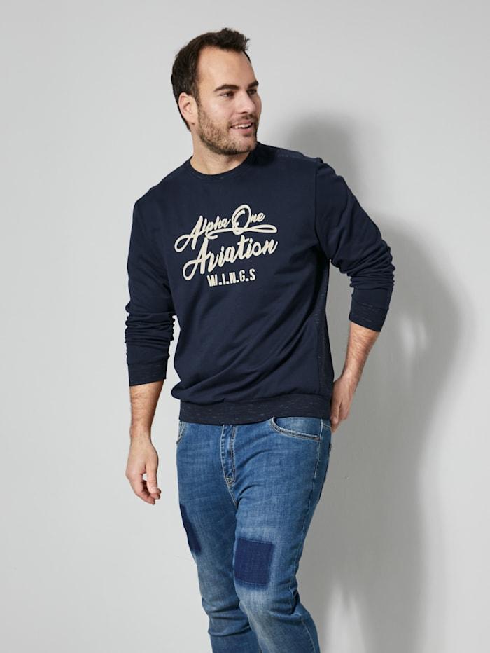 Men Plus Sweatshirt in melierter Optik, Marineblau