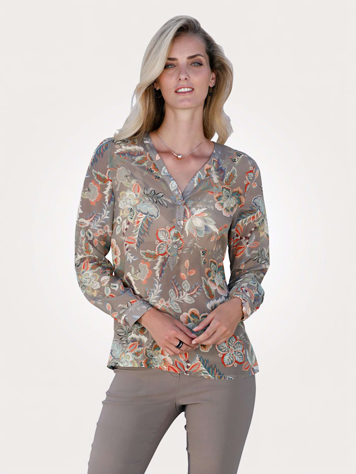 MONA Silk blouse with a floral print, Taupe/Rosé
