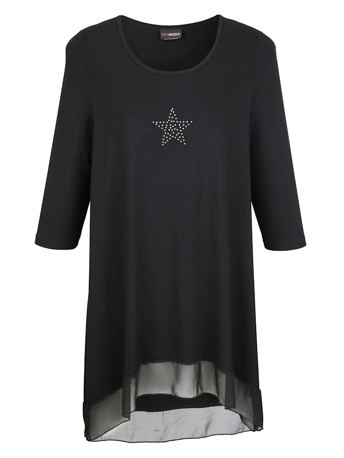 MIAMODA Sifonkihelmainan pitkän mallinen paita, Musta
