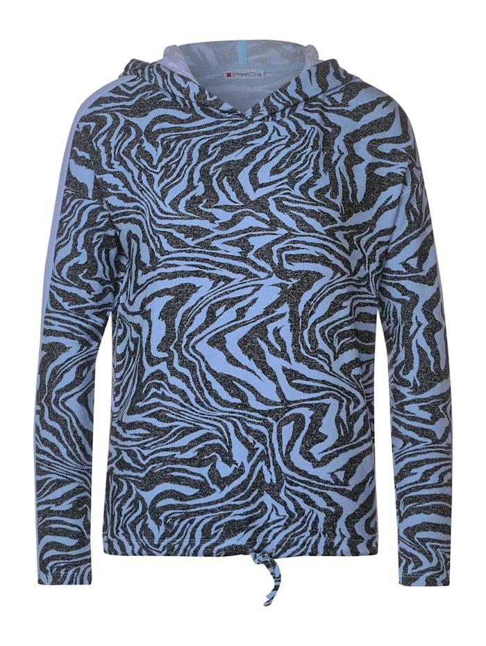 Street One Langarmshirt mit Zebramuster, fluffy blue melange